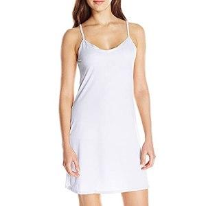Fond de Robe Femme Longue Coton Jupon sous Robe Bretelles Chemise de Nuit Sexy Slip Elégant Mini Droite Robe Vêtements légers Respirants à la Mode Estivale