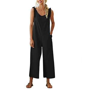 GFDFD Combinaison d'été Femme sans Manches Un Pantalon de Jambe d'une pièce à Une Seule pièce Couleur Massif Combinaison Femme Jumpsuit Mono Sexy Womensuit (Color : Black, Size : Mcode)