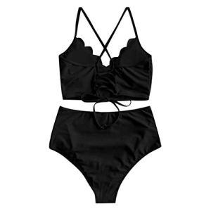GPQHSM Bikini Mode féminine Bikini Deux Pièces Maillots de Bain Maillot de Bain Taille Haute Maillot de Bain Beachwear Bikini Cintura Alta Push Up # 3 (Color : Black, Size : S)