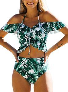 JFAN Femme Maillot De Bain 2 Pièces Flounce à épaules Dénudées Tie Knot Push Up Vintage Taille Haute Volants Bottom Ruched Deux Pièces Bikini