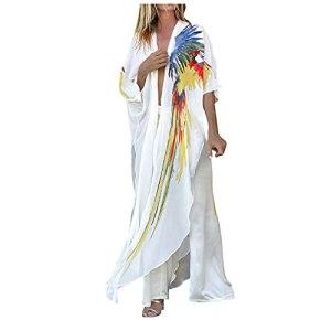 L9WEI Boho Cardigan en mousseline pour femme avec imprimé perroquet Robe de plage d'été décontractée Poncho de plage Protection solaire