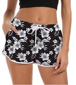 NEWISTAR Maillot de Bain pour Femme Pantalon de Yoga d'Été Shorty Sport Shorts de Plage, Noir Motifs Fleurs, XL