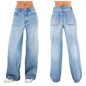 NSOT Jeunes des femmes – Bas – Jambe large – Coupe droite – Bleu – taille unique