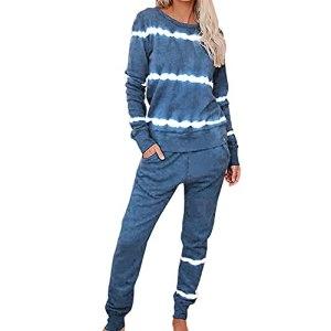 PRJN Ensemble de survêtement pour Femmes 2Pcs Tie-Dye Rayures imprimées Costume de Grande Taille Sweat-Shirt à Manches Longues Pullover Loungewear décontracté Ensemble de survêtement à Manches