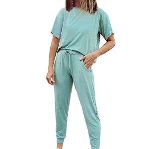 PRJN Ensemble de vêtements de Sport pour Femmes Ensemble 2 pièces Couleur Pure XL Ensemble à Manches Courtes Sweat-Shirt Pull Vêtements décontractés Ensemble de 2 pièces pour Femmes Ensemble