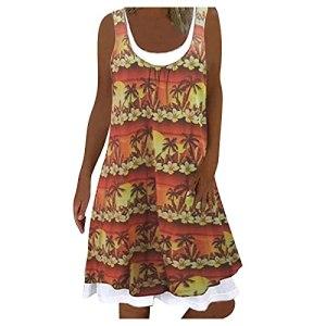 Robe d'été en deux parties – Col rond – Sans manches – Élégante – Simple – Longueur genoux – Avec motif floral – Style bohème – Vintage – Robe de plage ample – – 38