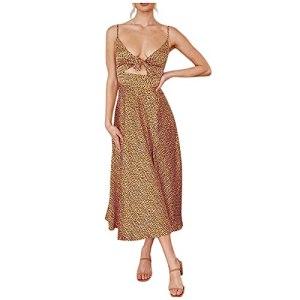 Robe d'été pour femme courte sans manches – Dos nu – Élégante – Taille haute – Ligne A – Longueur genoux – Robe de plage vintage décontractée – Abdomen – Robe de plage – Robe de soirée. – – Medium