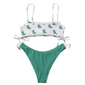 UoBfine Ensemble bikini 2 pièces avec soutien-gorge et sangle dorsale réglables, triangle, maillot de bain floral taille haute. – Vert – Small