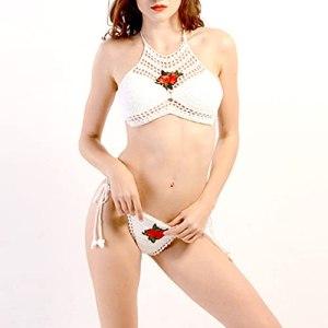 Yousiju Bikini creux d'été pour femmes broderie de fleurs Sexy maillot de bain creux beauté féminine dos sangle maillot de bain femmes (Color : White, Size : F)