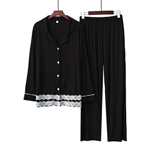 ZXZXZX houxinshangmao 2 pièces Pyjama Costume féminin à Manches Longues, Respirant et Doux Femme coréenne à la Maison coréenne (Color : Black 2, Size : S)