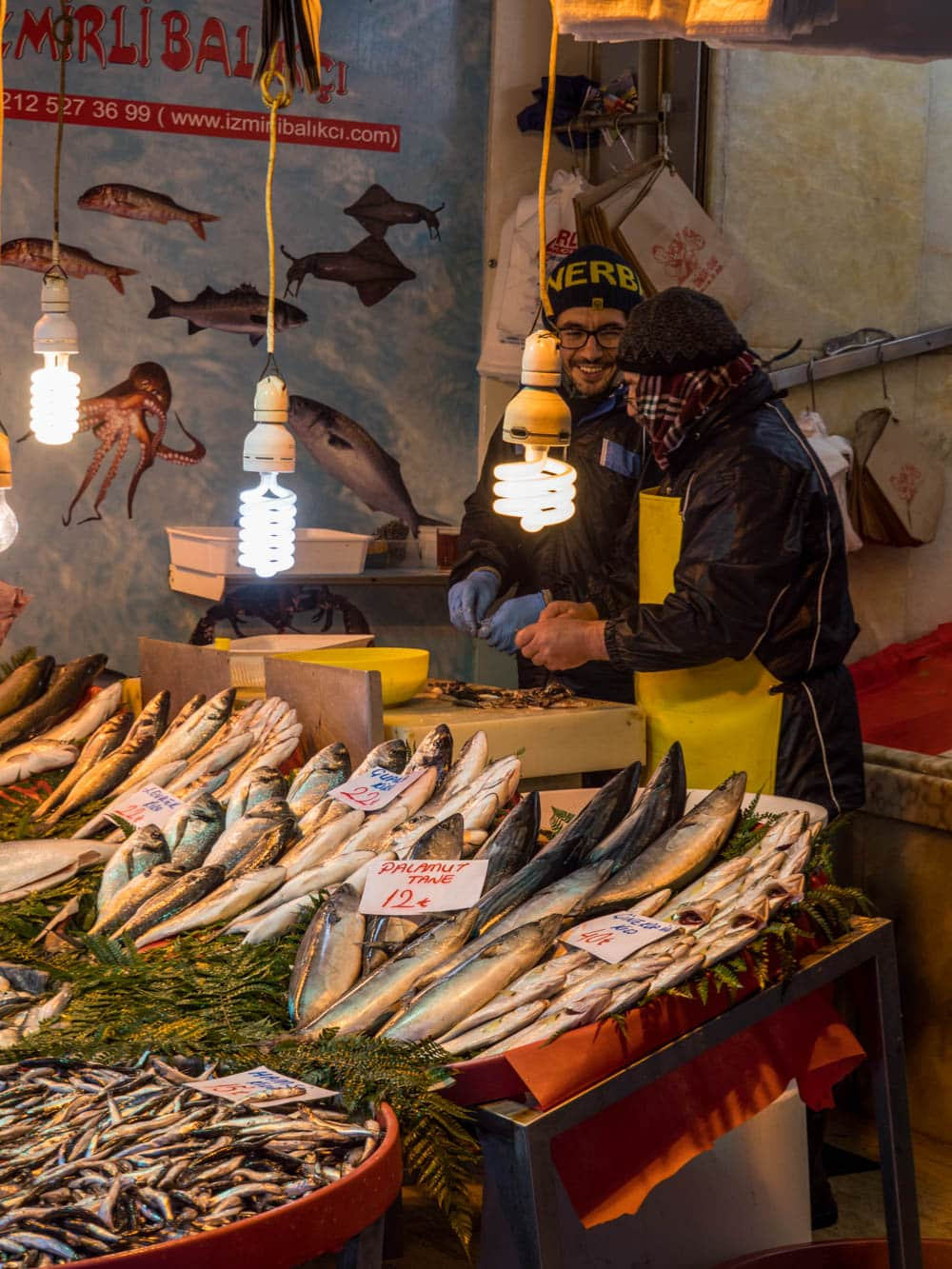 Fishmongers at the Istanbul spice market (Misir carsisi) / A kitchen in Istanbul