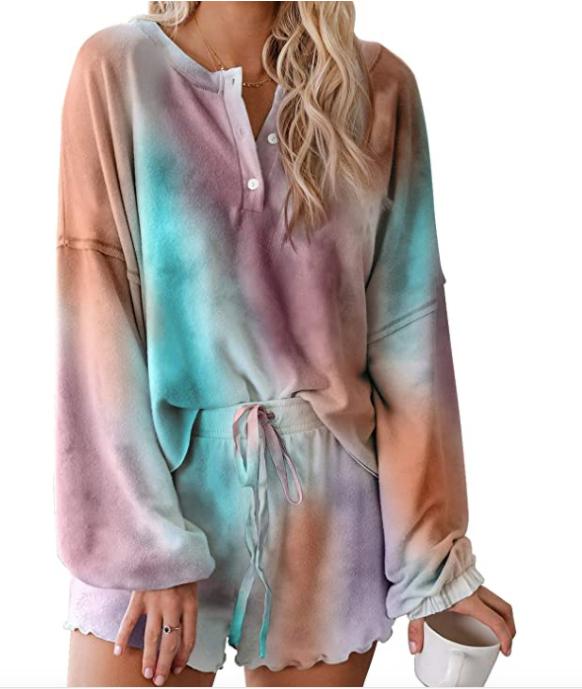 Astylish Women's Long Sleeve 2 Piece Short Pajamas Set