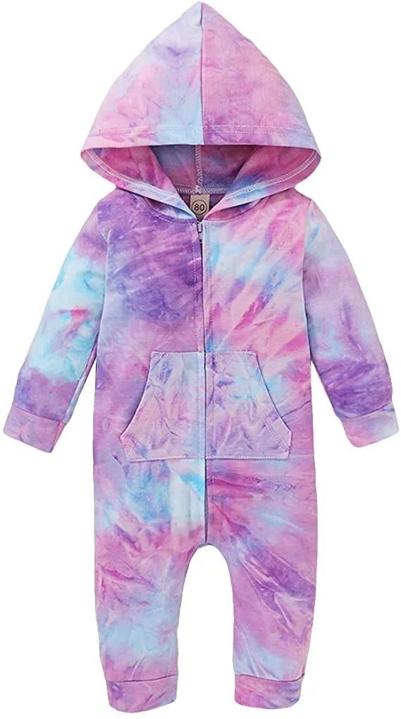 KayotuasBaby Boys/Girls Hooded Jumpsuit Tie Dye Long Sleeve Footless Pajamas