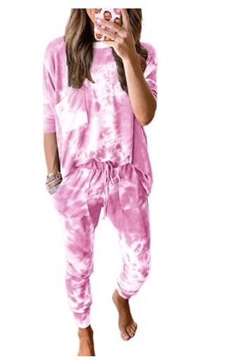 ROSKIKI Womens 2 Pieces Tie Dye Pajamas Set