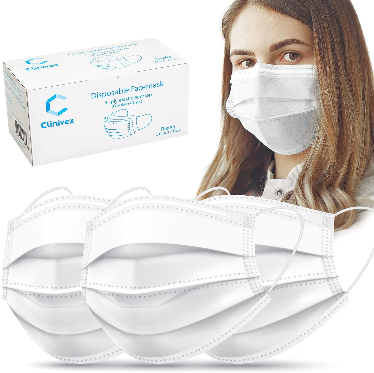 Clinivex Face Mask, 3-Ply Flex Air Disposable Face Mask with Double Nose Wire