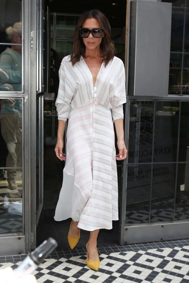 Victoria Beckham in striped summer dress