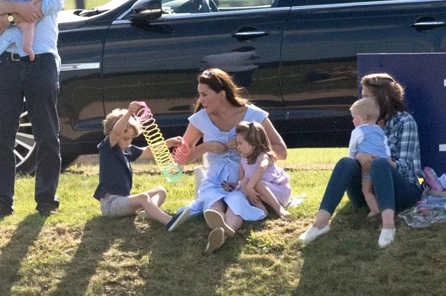 Kate Middleton at the Beaufort Polo Club with Prince George and Princess Charlotte.