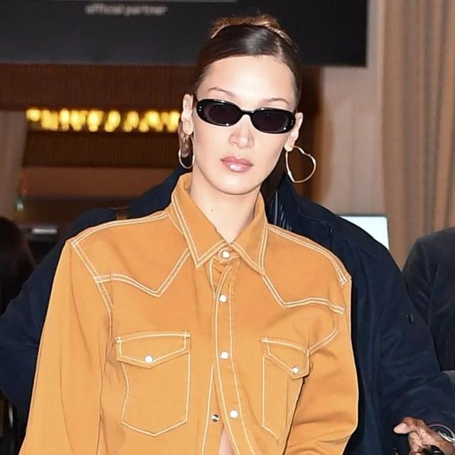 Bella Hadid in Frasier Sterling heart earrings