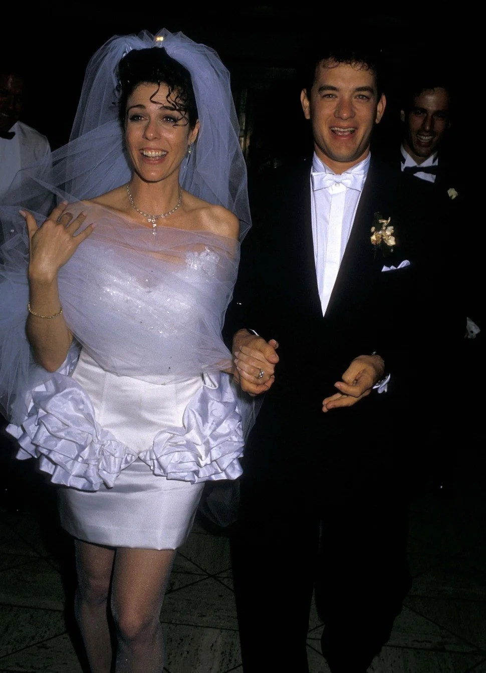 Rita Wilson and Tom Hanks attend their wedding reception on April 30, 1988 at Rex's in Los Angeles, California