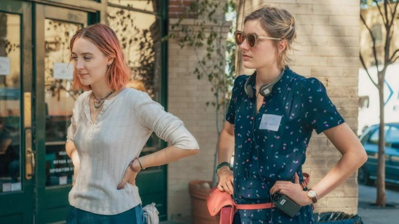 Saoirse Ronan and Greta Gerwig Filming Lady Bird