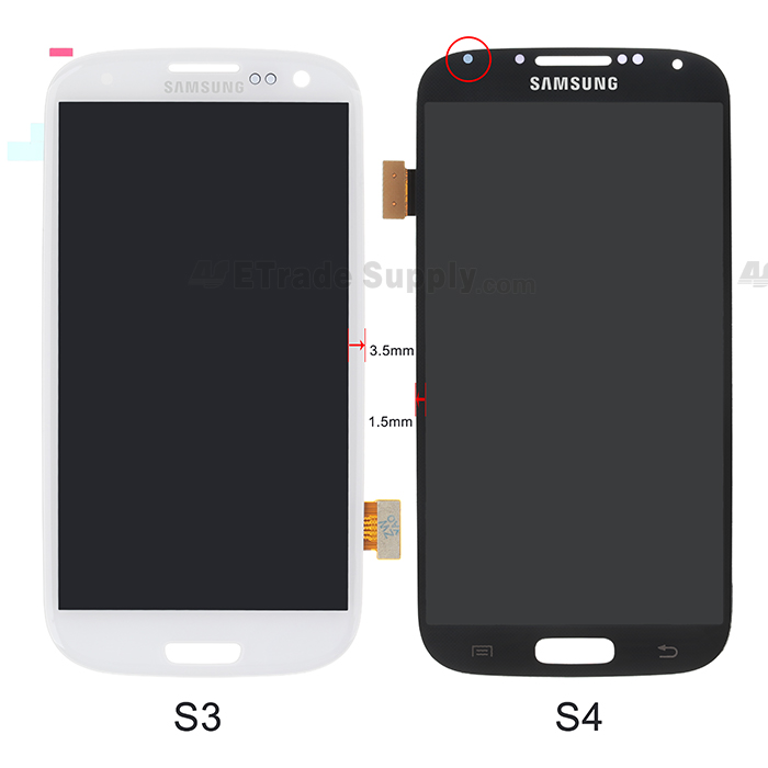 Samsung Galaxy S4, S3 LCD Screen and Digitizer Assembly front part compare