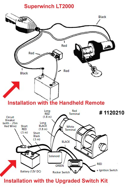 superwinch 12 volt dc powered electric atv winch — 2500-lb, Wiring diagram