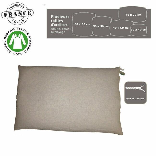 housse zippee en coton bio avec fermeture pour coussin et oreiller