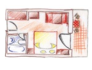 piantina disegno camera doppia tschaufen
