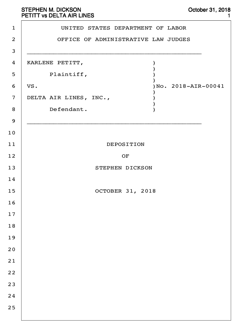 Read the Deposition of Stephen Dickson