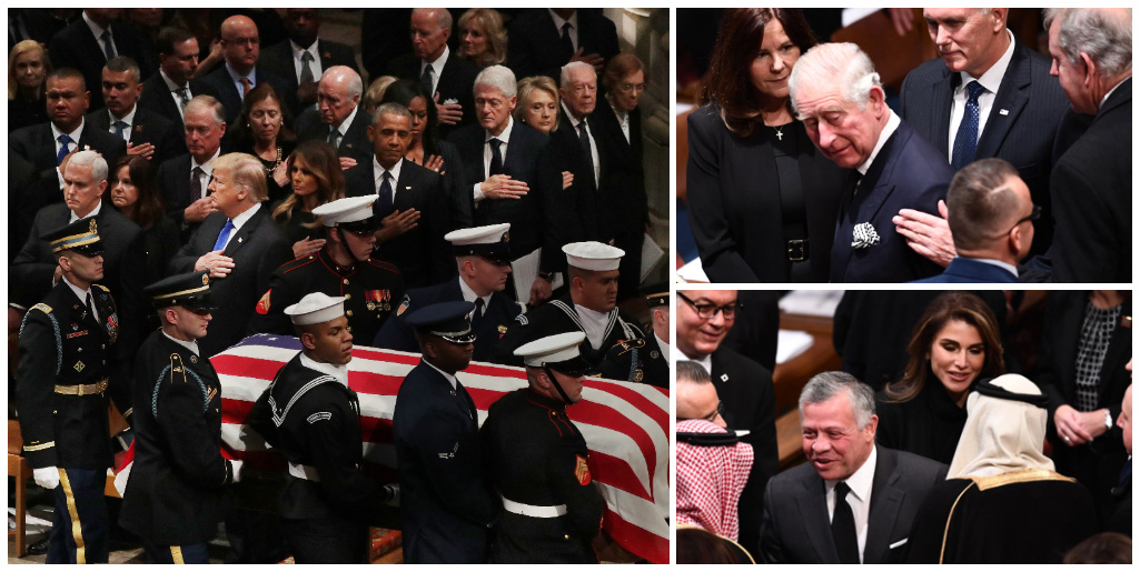 #FactOfTheDay 06/12/18 – George H W Bush funeral: George W Bush pays tribute to his father in front of world figures