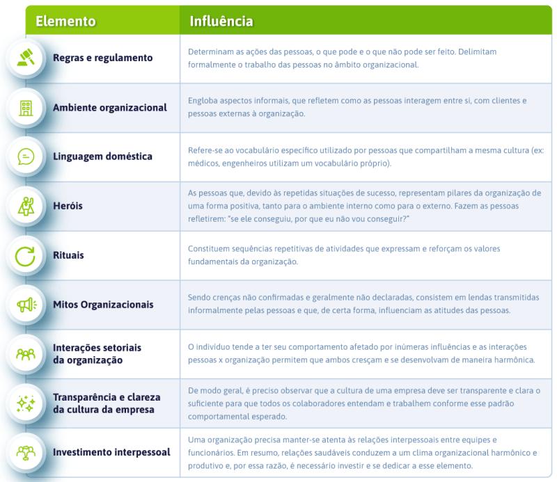 Elementos que compõem a cultura organizacional