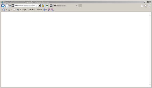 Blank page when accessing the Horizon Helpdesk Tool in Internet