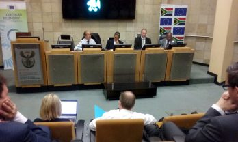 Technical meeting with the SA government representatives (From left to right: Mr. D. Calleja, DG Environment-EC, Dr. H. Roman, Director of Environmental Services & Tecnologies, Department of Science and Technology; Mr. N. Gwynne-Evans, Department of Trade and Industry; Mr. K. Mokoena, Chief Director, Deparment of Environmental Affairs)