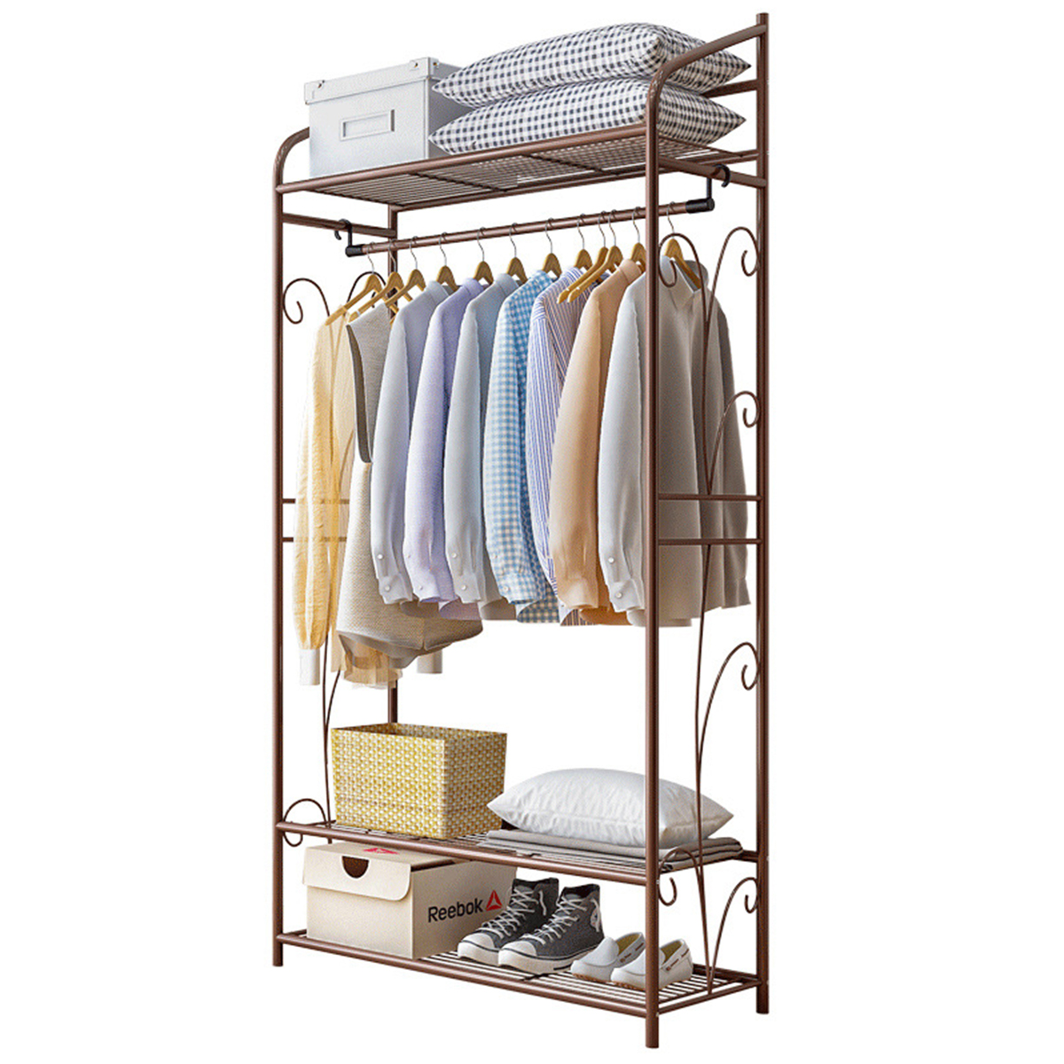 4 tiers stainless steel coat rack shoes rack multifunctional bookshelf clothing hanging rack garment clothes shelf home office furniture