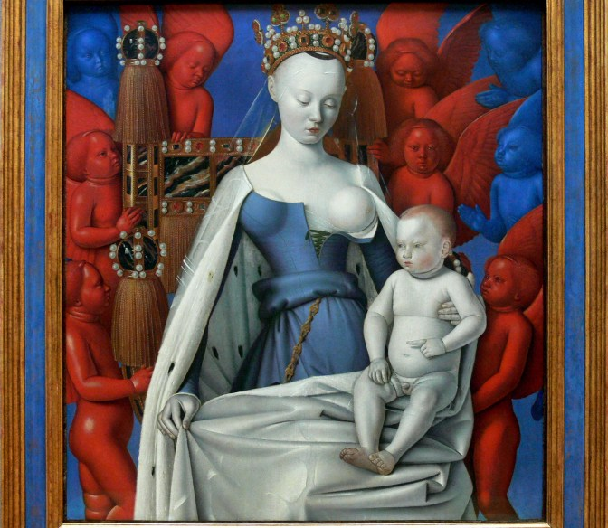 "photo : F lamiot == Description == {{Painting |Title={{de| Maria mit Kind}} {{en|Madonna and Child [Virgin with Child and Angels] (right panel of the Melun dyptich).}} {{fr|'''Madone aux anges rouges''' ou '''La Vierge et l'Enfant entourés d'anges''' . C'est le volet droit du ""diptyque de Melun"".}} 