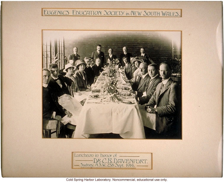 Eugenics Education Society of New South Wales luncheon in honor of C.B. Davenport (standing 2nd from left), Sydney, Australia (9/25/1914)