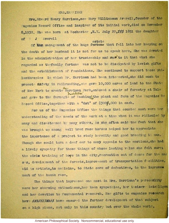 Eulogy on death of Mrs. Harriman