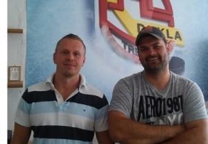 Lukáš Frývaldský (manažér Gladiators Trenčín), Ján Kobezda (generálny manažér HK Dukla TN)