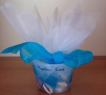 Μπομπονιέρα με Κερί Σε Μπλε Αποχρώσεις Με Κοχύλια