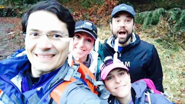 Carlos, Flávia, Eu e Gordo no curso de navegação.
