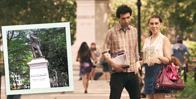 "Cena do seriado ""Girls"" no Washington Square Park"