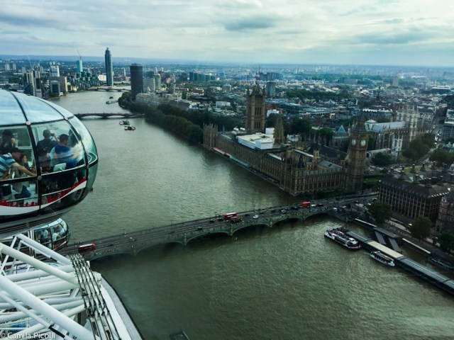 Vista da London Eye - Rio Tâmisa, Westminster Bridge, Westminster Palace e Big Ben.