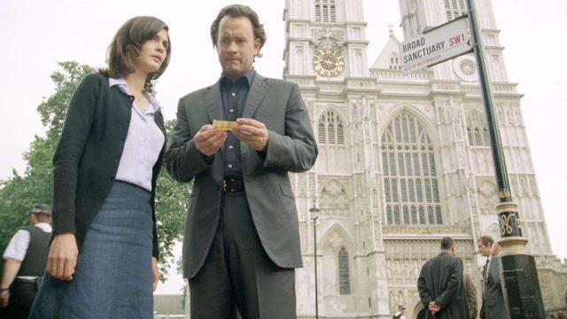 Cena do filme O Código Da Vinci, em frente à Westminster Abbey.