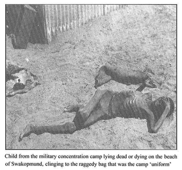 """Niño preso muerto de hambre, África del Sudoeste Alemana. Fuente: Erichsen, """"The angel of death has descended violently among them,"""" University of Leiden, 2005, p. 57"""