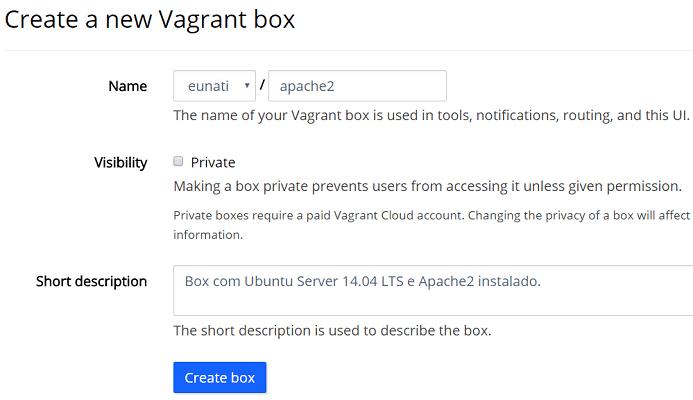 Criar Box