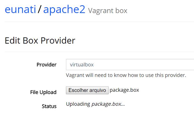 Escolha o provider e faça o upload do arquivo .box