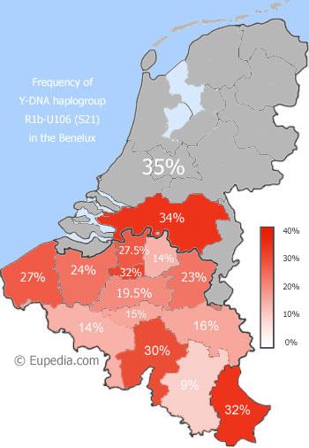 R1b-U106 in den Benelux-Ländern