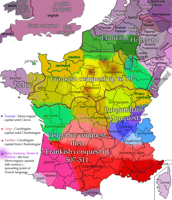 Map of the French and Germanic dialects compared to the Frankish homeland