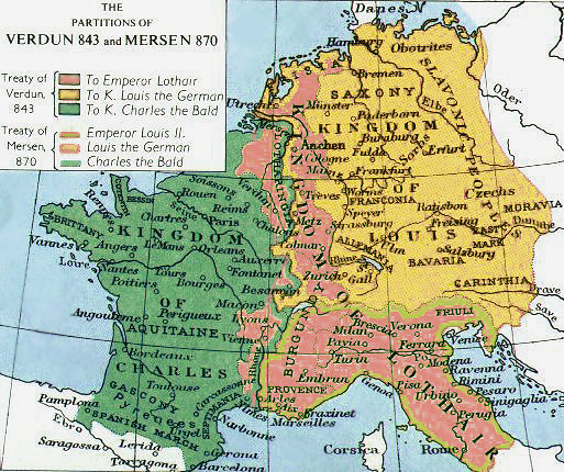 Map of the Frankish Empire, and partitions of 843 and 870