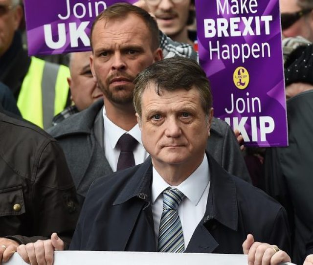 Epa07219917 Uk Independence Party Ukip Leader Gerard Batten C With Ukip And Pro Brexit Supporters During Ukip Brexit Betrayal March In London Britain